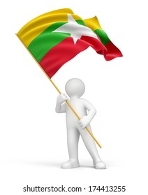 Man and Myanmar flag (clipping path included)
