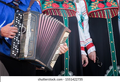 A man in national clothes plays an ancient folk musical instrument accordion in the ensemble