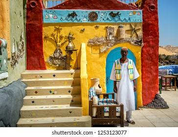 A man next to his house, Nuba,, Aswan, southern Egypt, August 2014