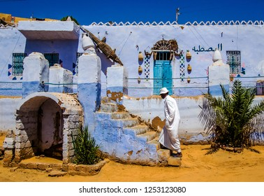 A man next to his house, Nuba,, Aswan, southern Egypt, August 2014