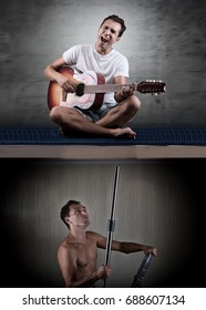 Man at night can't relax because of the noisy neighbor with guitar.