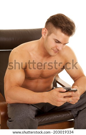 Man No Shirt On Sitting His Stock Photo Edit Now 203019334