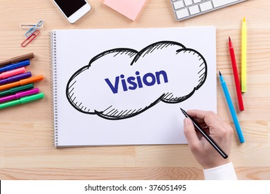 Man with a Notepad written Vision Concept