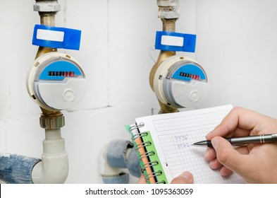 Man notices the water meter. Blue modern radio water counter bill concept