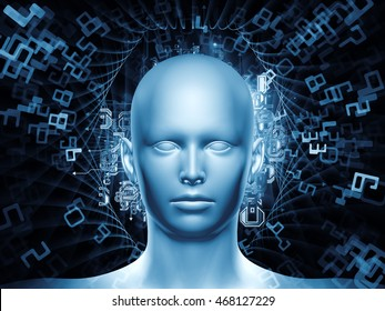 Man of Number series. Design composed of human head, numbers and visual elements as a metaphor on the subject of human mind, modern technology, education and science
