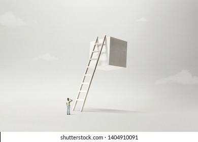 man observing white solid cube suspended in the air, surreal concept