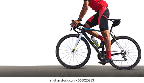 Man on a bicycle on a road on white background