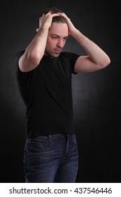 man on a black background