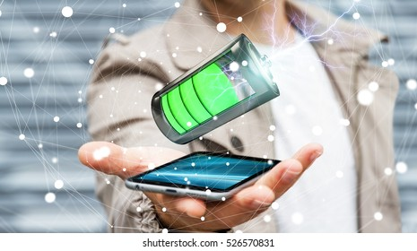 Man on blurred background holding 3D render battery with lightning over his phone