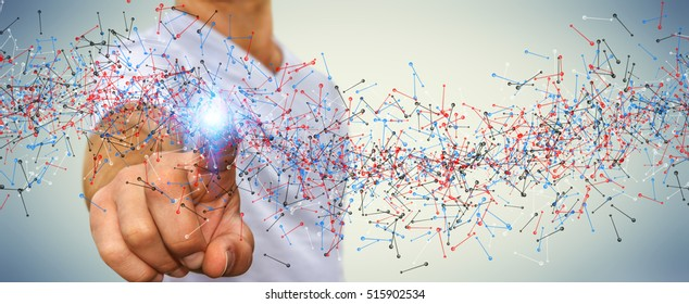 Man on blurred background touching DNA structure with his finger