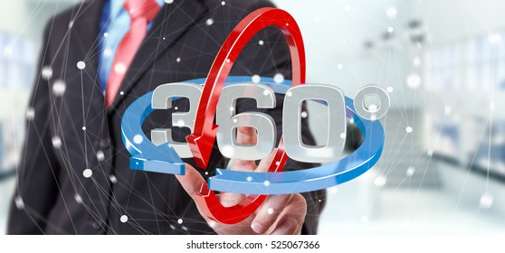 Man on blurred background touching 360 degree 3D render icon with his finger