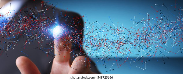 Man on blurred background touching DNA structure with his finger 3D rendering