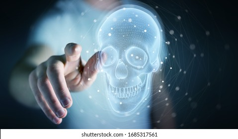 Man on blurred background using digital x-ray skull holographic scan projection 3D rendering