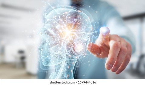 Man on blurred background using digital artificial intelligence holographic projection 3D rendering