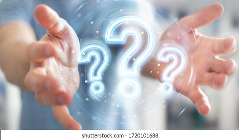 Man on blurred background using digital question marks holographic interface 3D rendering