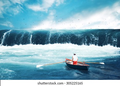 Man on a boat facing tsunami