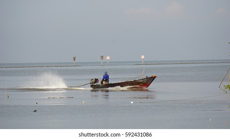 man on boat in the sea in Feb28 2017 thailand location