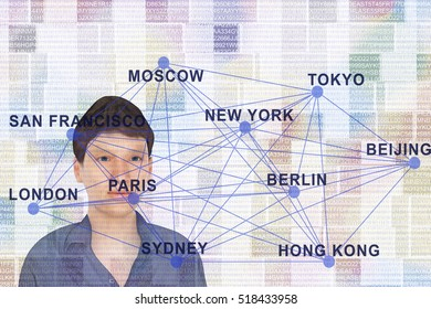 Man on chip card with city name, 3d-illustration