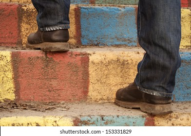 Man on colorful stairs