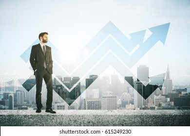 Man on concrete roof top with arrows. City background. Success concept