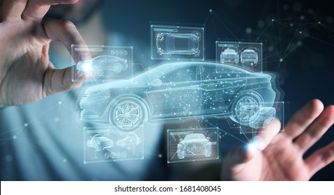 Man on dark background holding and touching holographic smart car interface projection 3D rendering