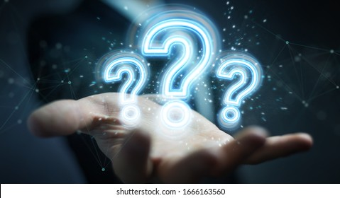 Man on dark background using digital question marks holographic interface 3D rendering