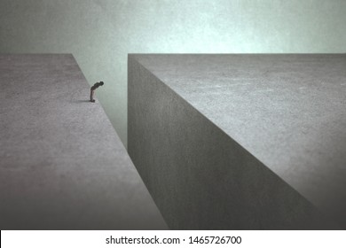 man on the edge afraid of jumping onto the other side, abstract concept