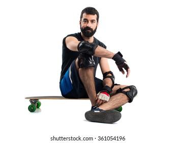 Man on his longboard