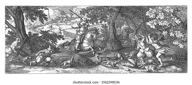 A man on horseback, with his sword raised, approaches a fox lying on his back, cornered by dogs. Four other men run towards the animal with spears and clubs: one of them impales the fox.
