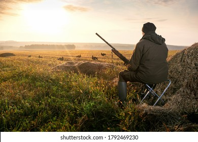 The man is on the hunt. Hunter with a hunting gun. Hunting for game birds.