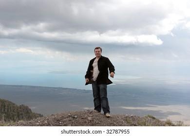 The man on Issyk Kul background, Kyrgyzstan