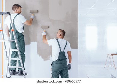 Man on ladder painting wall on beige color using roller next to painter in overalls