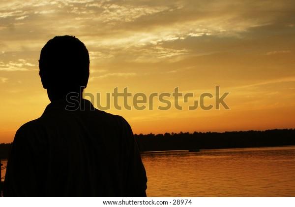 a man on a lake