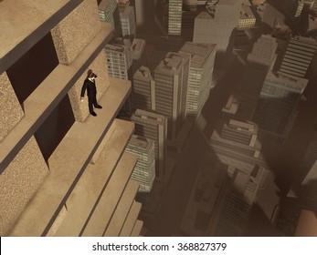 Man on the ledge of a skyscraper