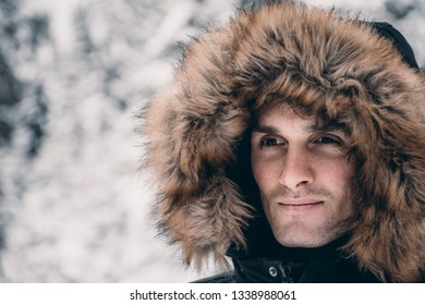 Man on a mountain in winter weather