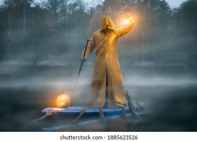 man on a paddle board in a yellow raincoat, photo art charon and the river Styx