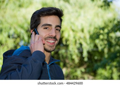 man on the phone, outdoor picture