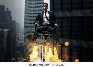 Man on a rocket chair