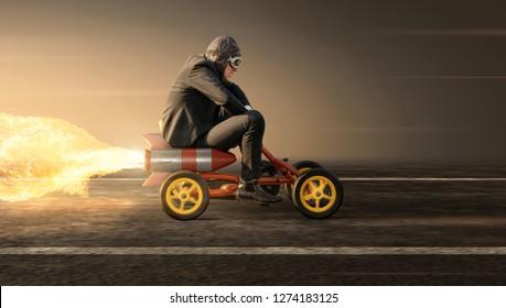 Hombre en un camión de pedal de cohete