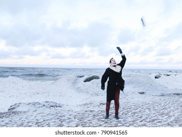 man on the seashore in the winter