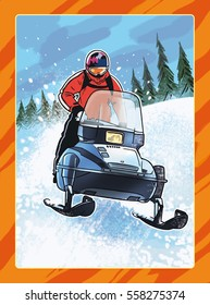 Man on snowmobile, extreme winter sport