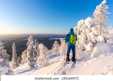 Man on snowshoes stands amongst frozen trees at sunrise in Finnish Lapland, Pyha, Finland