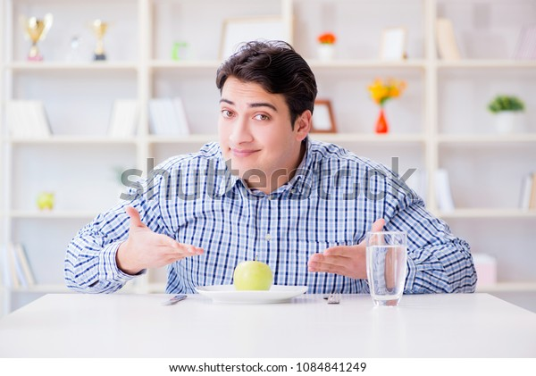 Man on special diet programm to lose weight