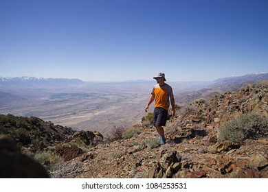 man on top of Black Mountain above the Owens Valley