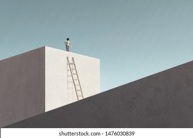 man on top of minimalist structure observing the sky