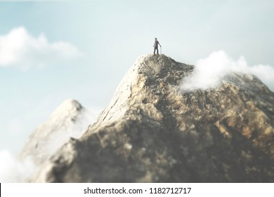 man on the top of the mountain enjoy the success