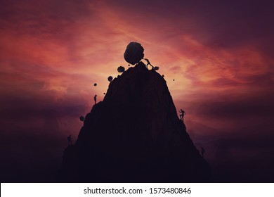 Man on top of mountain hill pushing down big boulders to exclude other competitors reach the top and succeed. Market monopoly concept, rivalry liquidation. Unfair business game, opposition elimination