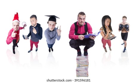 man on top of a pile of books