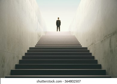 Man on top of the stairs