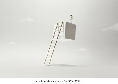 man on the top of a suspended cube observing the future, surreal concept